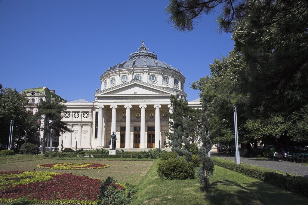 Stock Photo: 4290-3821 Romanian Atheneum, Atheneul Roman, Str Benjamin Franklin, near Calea Victoriei, Bucharest, Romania