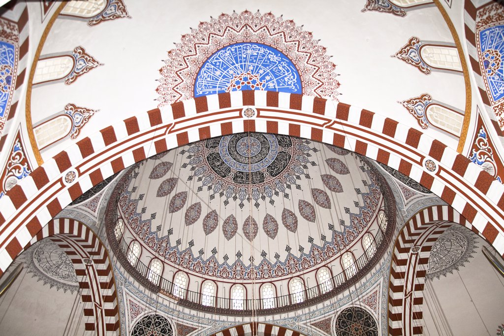 Stock Photo: 4290-3823 Patterned, decorative ceiling in Sehzade Mosque, Fatih, Istanbul, Turkey