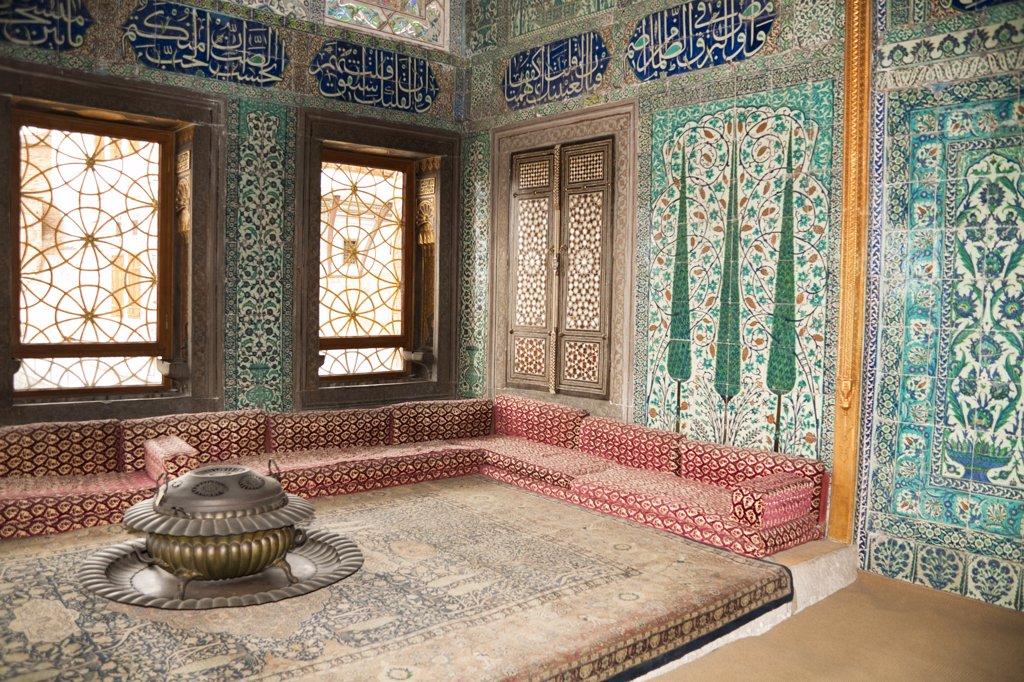 Crown Prince's classroom in The Harem, Topkapi Palace, also known as Topkapi Sarayi, Sultanahmet, Istanbul, Turkey : Stock Photo
