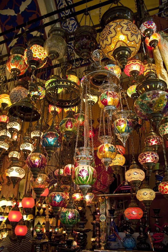Stock Photo: 4290-3858 Interior lights for sale in the Grand Bazaar, Istanbul, Turkey