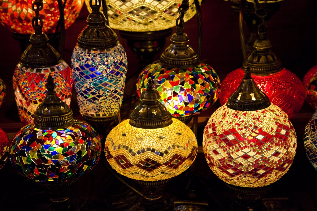 Stock Photo: 4290-3864 Interior lights for sale in the Grand Bazaar, Istanbul, Turkey