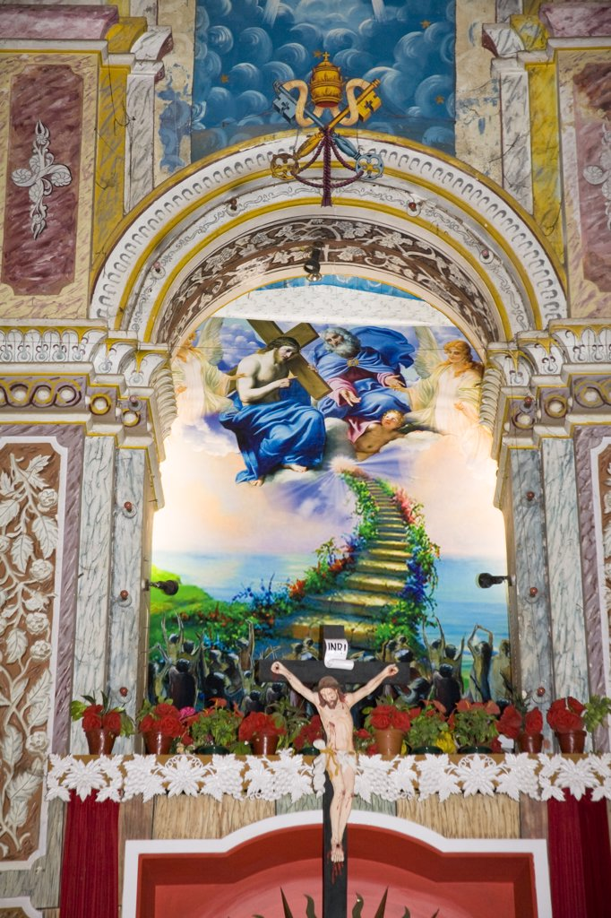 Stock Photo: 4290-3883 Painting behind the altar, Santa Cruz Cathedral, Fort Cochin, Cochin, Kerala, India