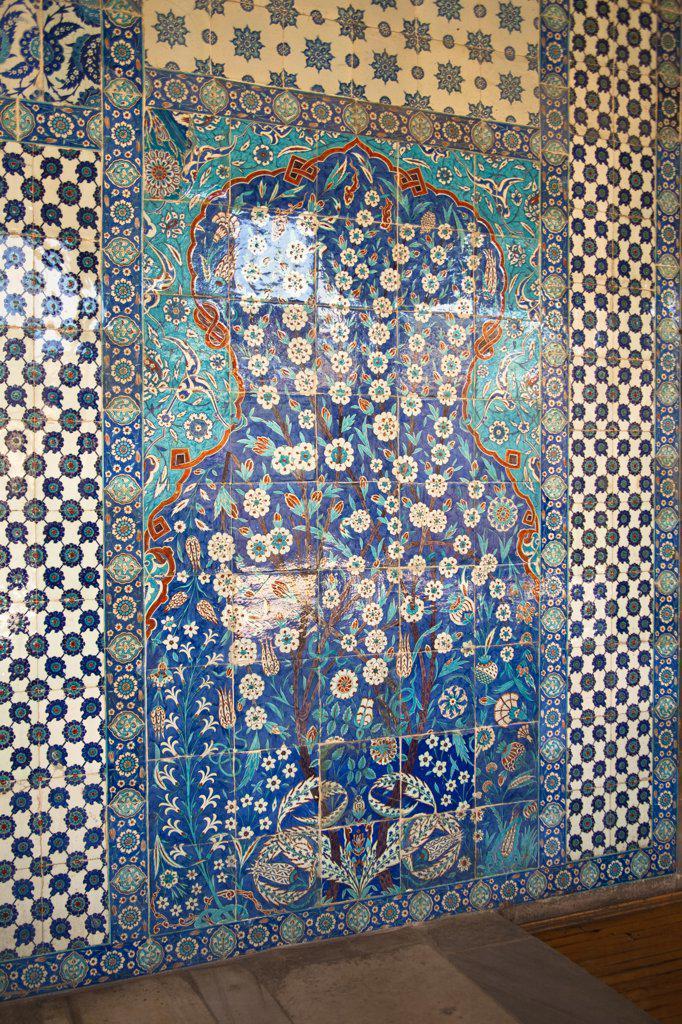 Stock Photo: 4290-3967 Ceramic wall tiles outside Rustem Pasha Mosque, Eminonu, Istanbul, Turkey