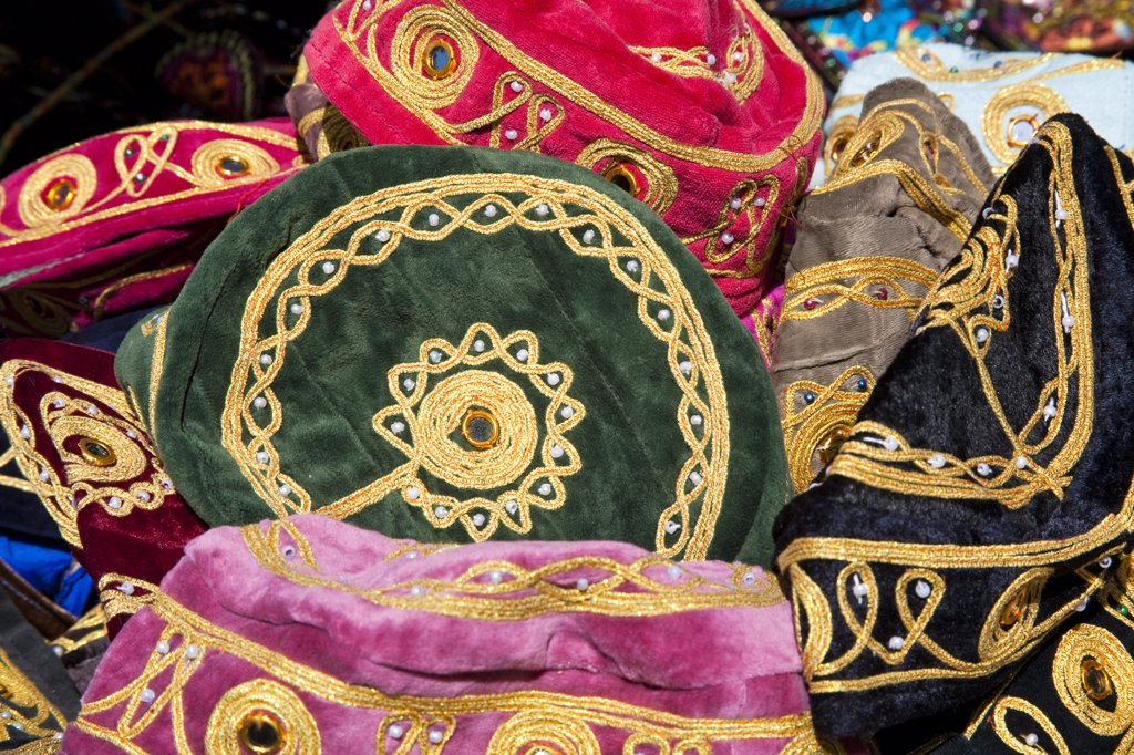 Stock Photo: 4290-3971 Colourful hats for sale in a street market, Istanbul, Turkey