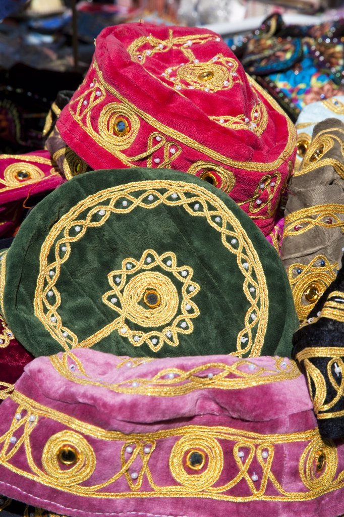 Colourful hats for sale in a street market, Istanbul, Turkey : Stock Photo