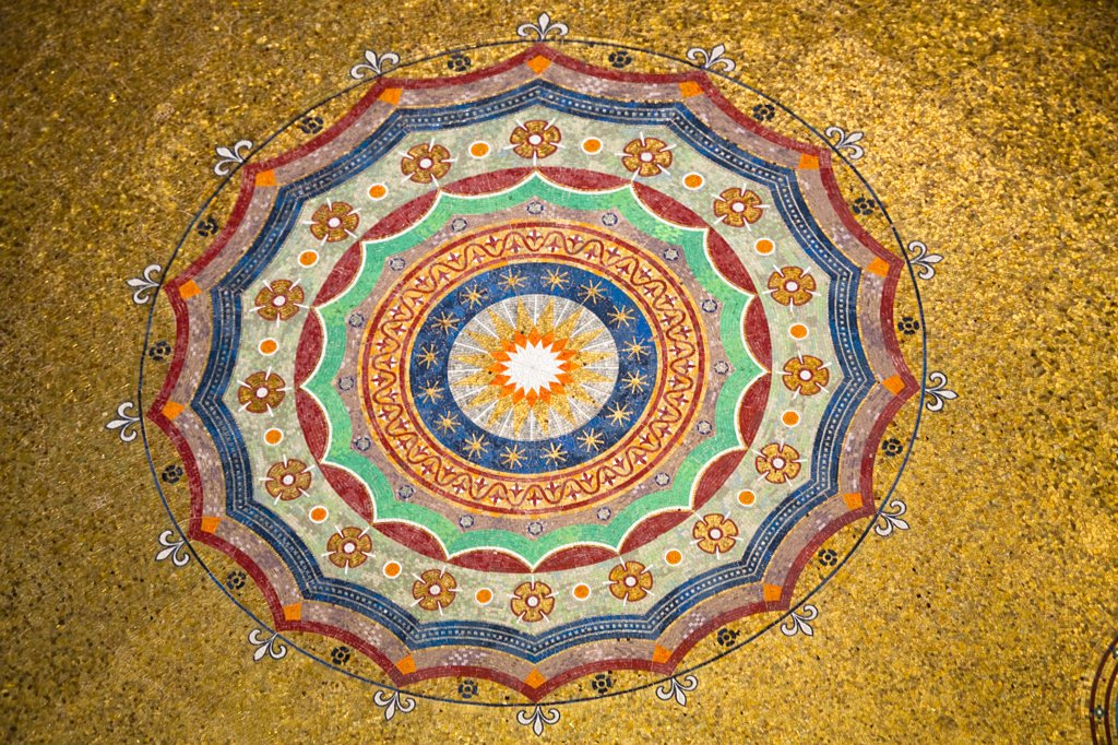 Stock Photo: 4290-4011 Colourful ceiling of the Neo Byzantine German Fountain, Alman Cesmesi, in the Hippodrome, Istanbul, Turkey
