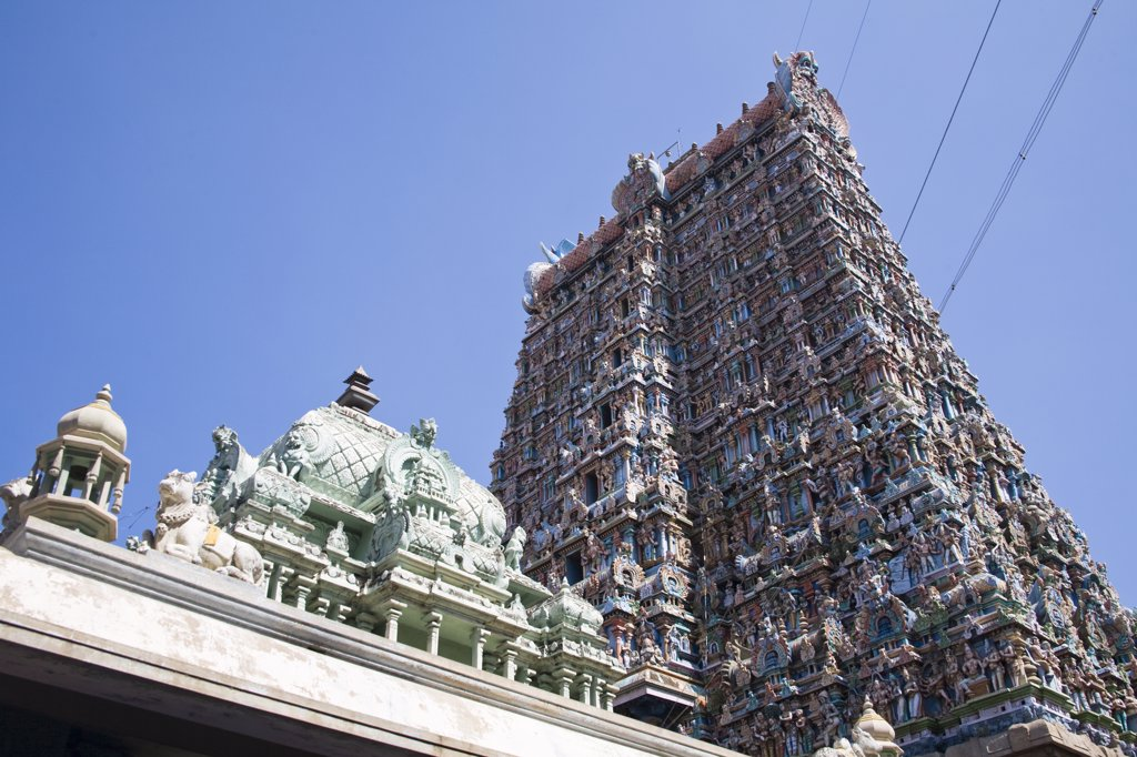 Stock Photo: 4290-4172 Roof of a shrine and a gopuram, Meenakshi Temple, Madurai, Tamil Nadu, India