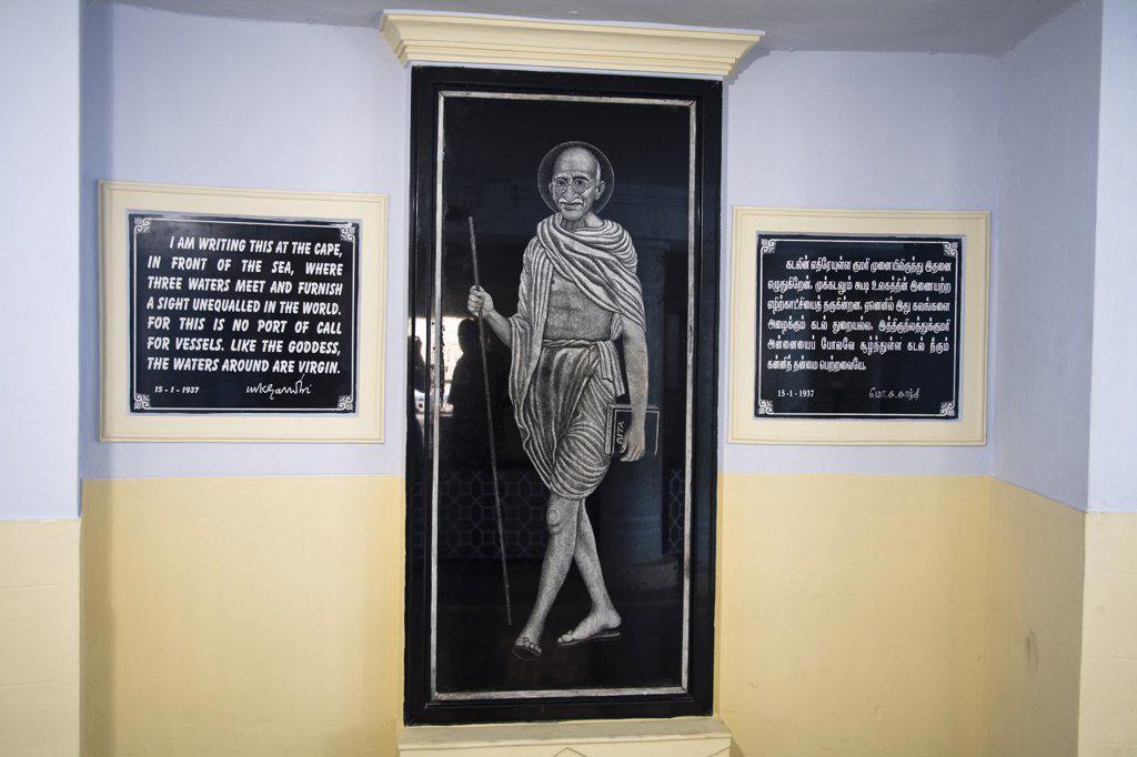 Stock Photo: 4290-4362 Picture of Gandhi and inscription inside Gandhi Mandapam, Kanyakumari, Tamil Nadu, India