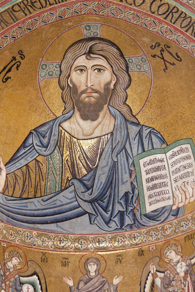 Stock Photo: 4290-4474 Byzantine mosaic of Christ on the ceiling of Cefalu Cathedral, Piazza Duomo, Cefalu, Sicily, Italy