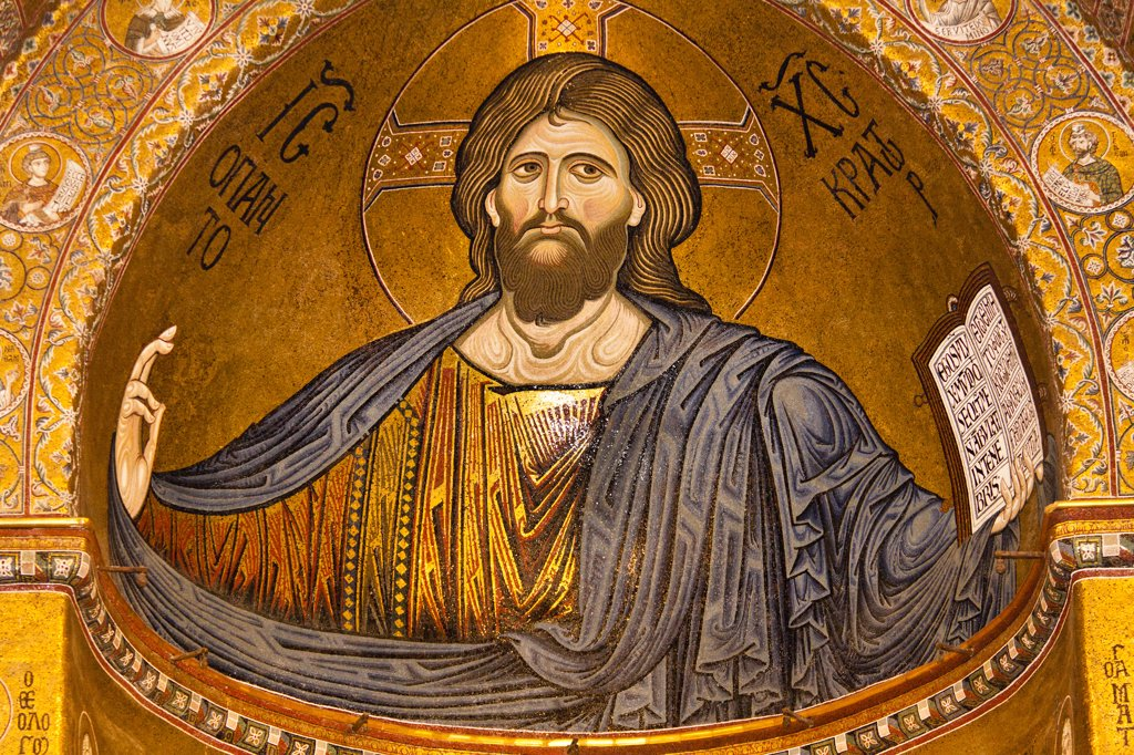 Jesus Christ mosaic in the apse, Monreale Cathedral, Monreale, near Palermo, Sicily, Italy : Stock Photo