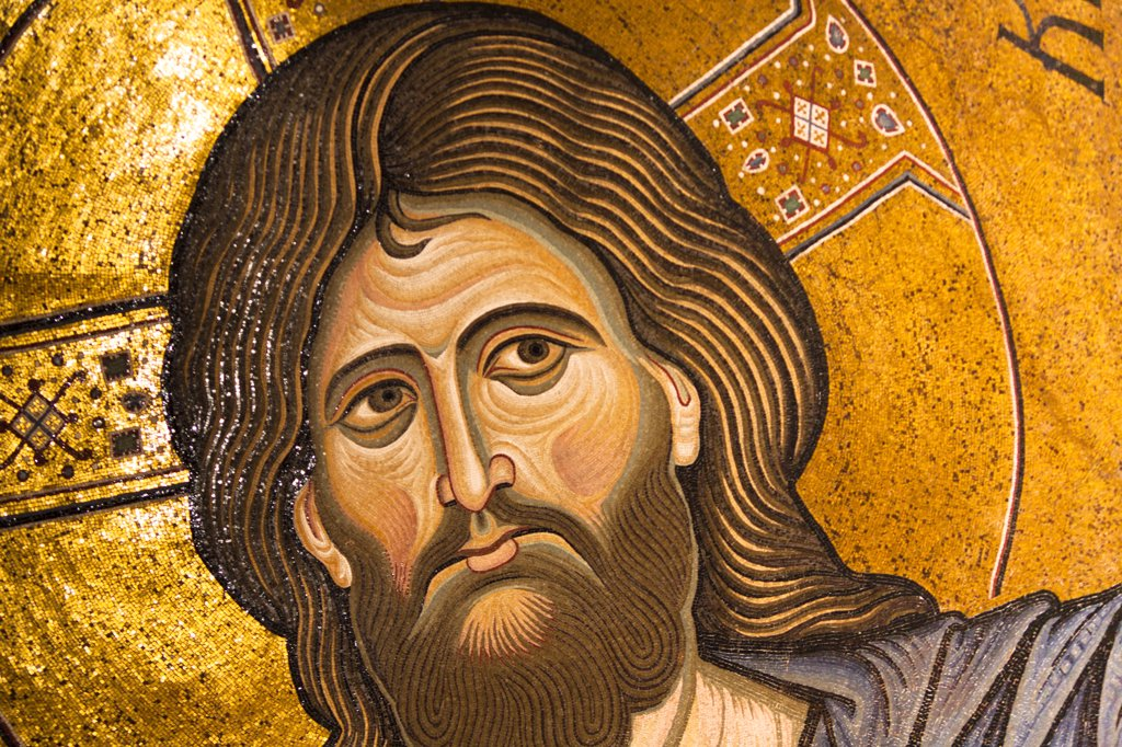 Stock Photo: 4290-4520 Jesus Christ mosaic in the apse, Monreale Cathedral, Monreale, near Palermo, Sicily, Italy
