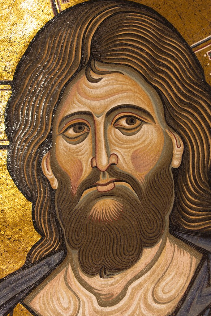 Stock Photo: 4290-4522 Jesus Christ mosaic in the apse, Monreale Cathedral, Monreale, near Palermo, Sicily, Italy