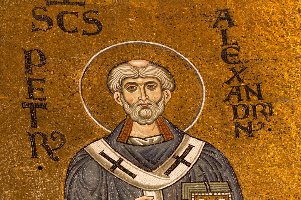 Saint Peter mosaic inside Monreale Cathedral, Monreale, near Palermo, Sicily, Italy : Stock Photo
