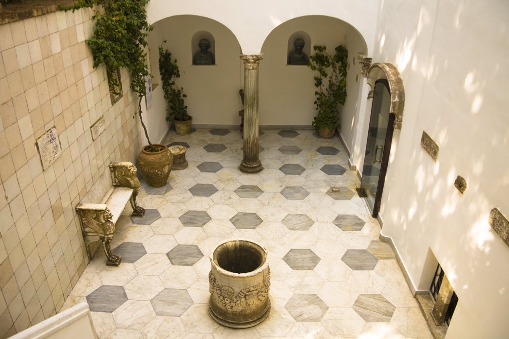 Tiled courtyard inside Villa San Michele, former home of Dr. Axel Munthe, Anacapri, Capri, Italy : Stock Photo