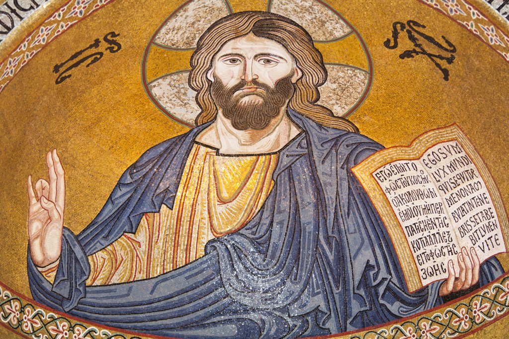 Stock Photo: 4290-4557 Jesus Christ mosaic in the apse, Cappella Palatina, Palazzo dei Normanni, Palermo, Sicily, Italy