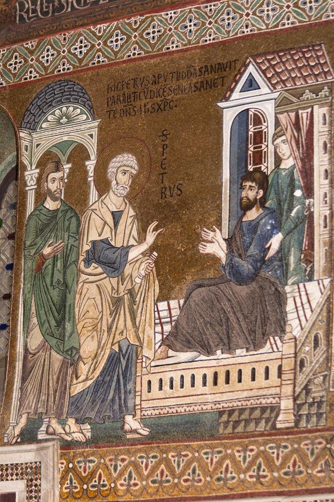Stock Photo: 4290-4571 Raising of Lazarus mosaic in Cappella Palatina, Palazzo dei Normanni, Palermo, Sicily, Italy