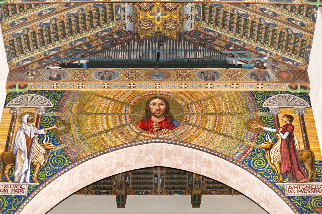 Jesus Christ mosaic inside Messina Cathedral, Piazza Del Duomo, Messina, Sicily, Italy : Stock Photo