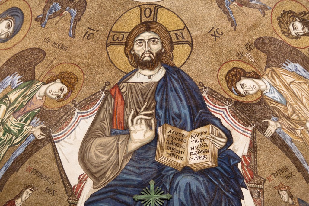 Stock Photo: 4290-4605 Jesus Christ mosaic inside Messina Cathedral, Piazza Del Duomo, Messina, Sicily, Italy