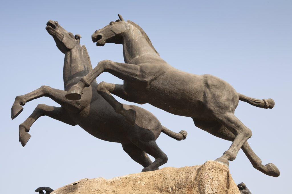 Statue of two galloping horses, Xi'an, Shaanxi Province, China : Stock Photo