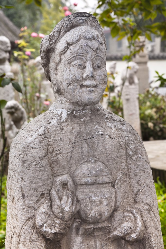 Stock Photo: 4290-4688 Carved statue of a Chinese woman, Small Goose Pagoda Park, Xi'an, Shaanxi Province, China