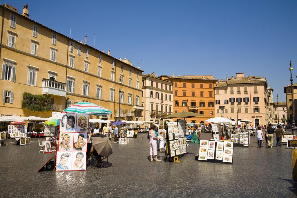 Stock Photo: 4290-4720 Tourists and buildings in Piazza Navona, Rome, Italy