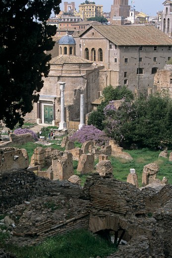 Stock Photo: 4290-5156 Temple of Romulus and Church of Santi Cosma e Damiano, The Forum, Rome, Italy