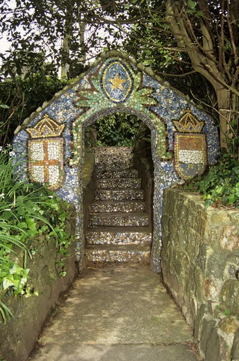 Mosaic archway and steps at the Little Chapel at Les Vauxbelets, St Andrew, Guernsey, Channel Islands : Stock Photo