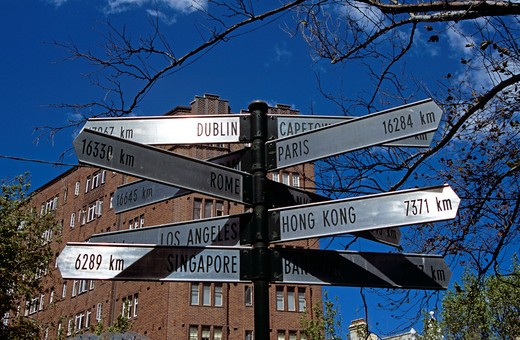 Country and city destination distance sign beside El Alamein Fountain, near Kings Cross, Sydney, New South Wales, Australia : Stock Photo
