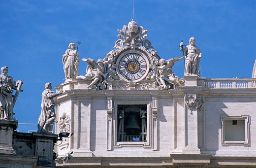 Stock Photo: 4290-5306 Saint Peter's Basilica clock tower, Saint Peter's Square, Piazza San Pietro, Rome, Italy