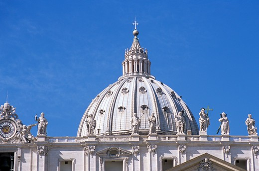 Stock Photo: 4290-5323 Saint Peter's Basilica clock tower and dome, Saint Peter's Square, Piazza San Pietro, Rome, Italy