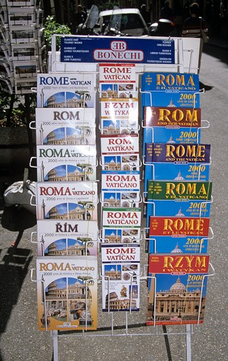 Stock Photo: 4290-5330 Rome guide books on display outside a shop, Rome, Italy