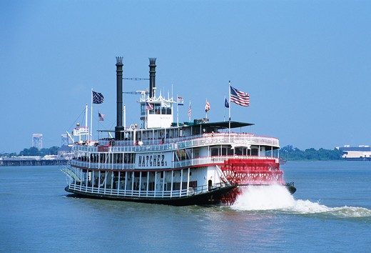 Stock Photo: 4290-5425 Natchez steamboat paddle steamer, Mississippi River, New Orleans, Louisiana, USA