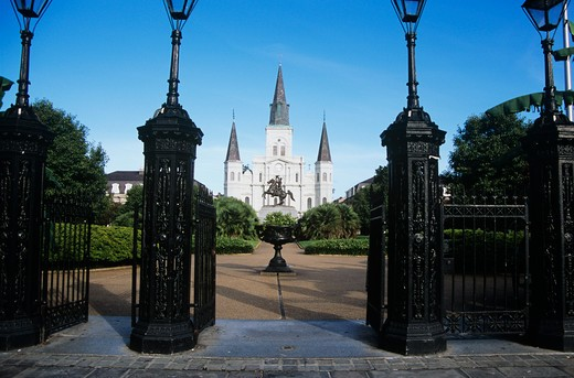 Stock Photo: 4290-5475 Saint Louis Cathedral, Jackson Square, French Quarter, New Orleans, Louisiana, USA