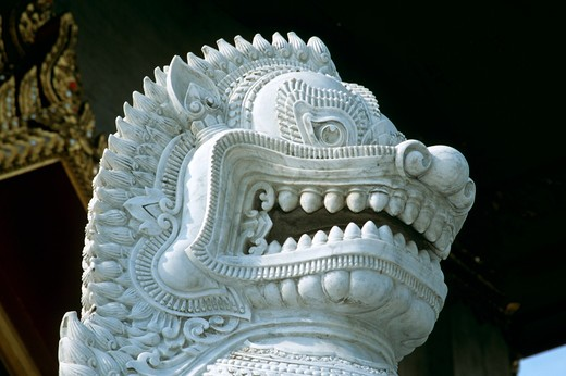 Stock Photo: 4290-5500 Head of lion statue, Marble Temple, Wat Benchamabophit, Bangkok, Thailand
