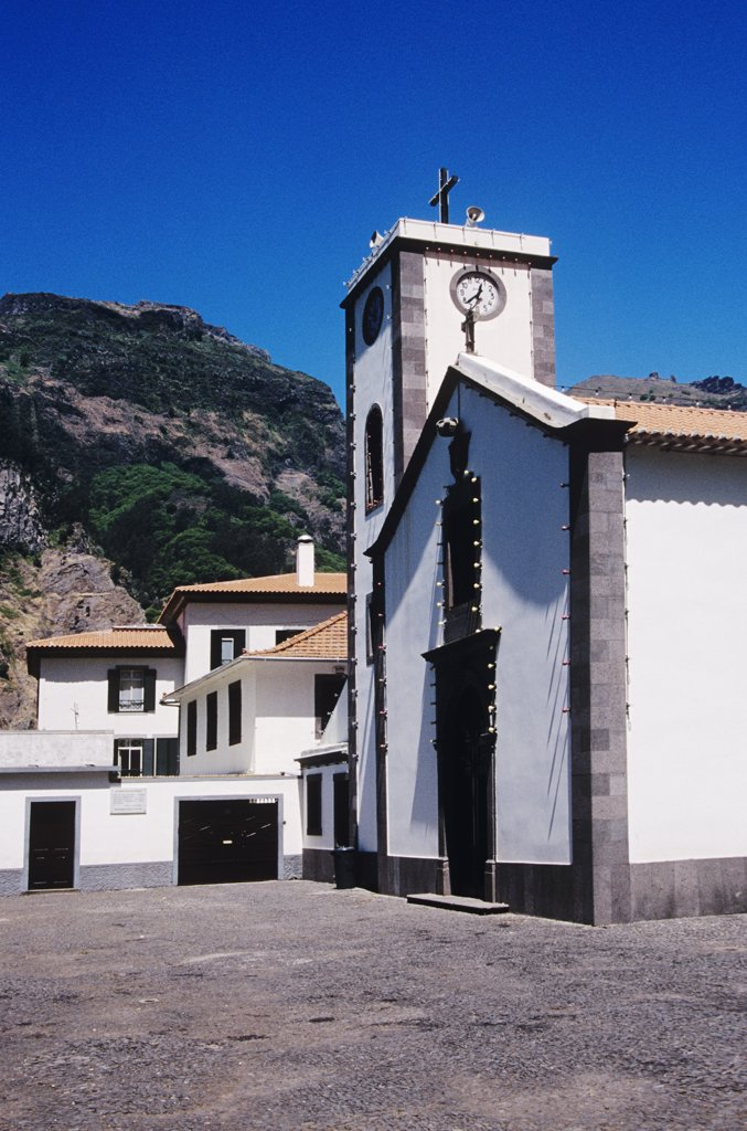 Parish church in the village of Curral das Freiras, Valley of the Nuns, Madeira : Stock Photo