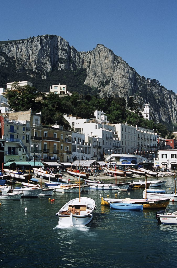 Stock Photo: 4290-5774 View of harbour, buildings and mountains from the sea, Marina Grande, Capri, Italy