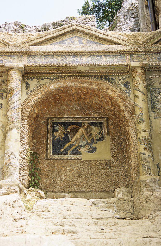 Wall mosaic, Pompeii archaeological site, Pompeii, near Naples, Campania, Italy : Stock Photo