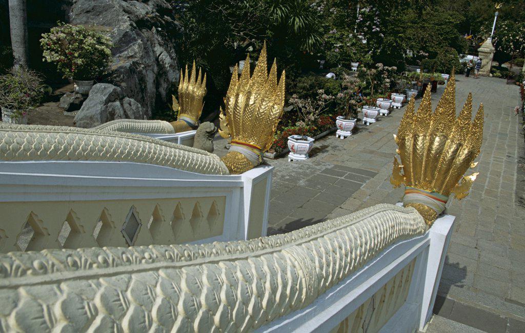 Ornate steps, Wat Phra Phutthabat Temple, (Wat Phra Buddhabat), near Lopburi, Saraburi Province, Thailand : Stock Photo