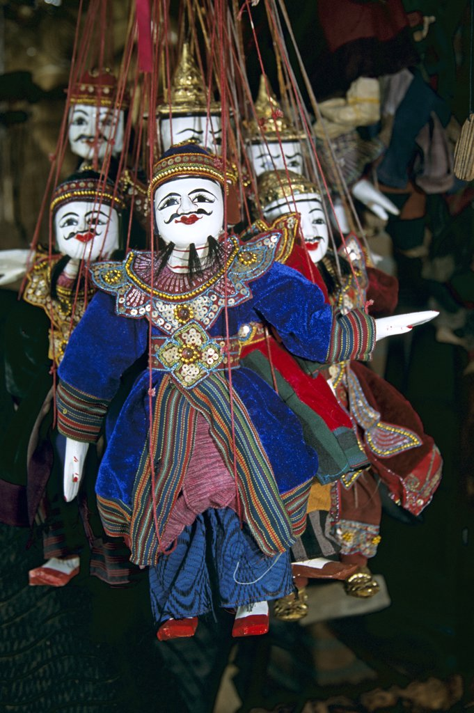 Stock Photo: 4290-5960 Puppets on display outside shop, Sukhothai, Thailand