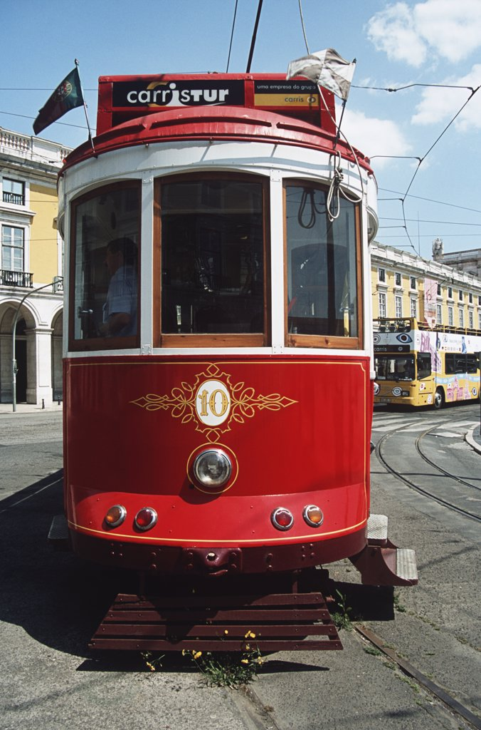 Stock Photo: 4290-5995 A tram used as a ticket booking office, Commercial Square, Praca Do Comercio, Lisbon, Portugal