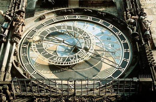 Stock Photo: 4290-6114 Astronomical clock, also known as Prague Orloj, on town hall tower, Staromestska Radnice, Prague, Czech Republic