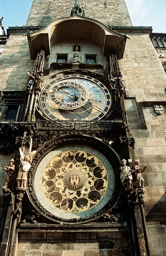 Stock Photo: 4290-6117 Astronomical clock, also known as Prague Orloj, on town hall tower, Staromestska Radnice, Prague, Czech Republic