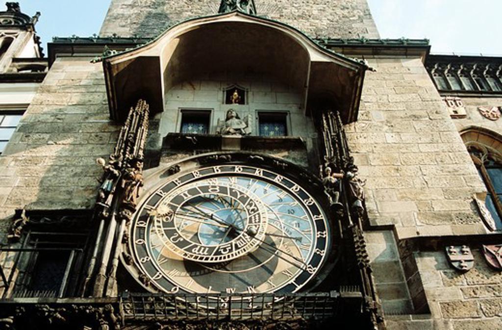 Stock Photo: 4290-6118 Astronomical clock, also known as Prague Orloj, on town hall tower, Staromestska Radnice, Prague, Czech Republic