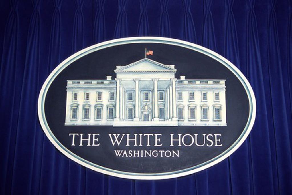 Stock Photo: 4290-6177 White house sign and logo, Press Room, The White House, Pennsylvania Avenue, Washington, DC, USA