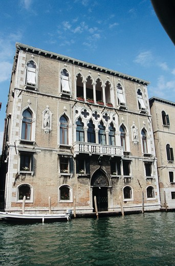 Waterside building, on the Grand Canal, Venice, Italy : Stock Photo