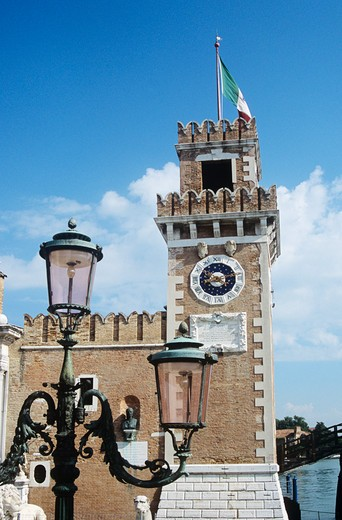 One of the clock towers, Porta Magna, The Venetian Arsenal, Arsenale di Venezia, Venice, Italy : Stock Photo