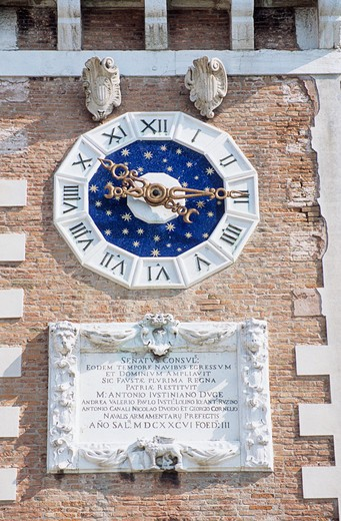 Clock tower, Porta Magna, The Venetian Arsenal, Arsenale di Venezia, Venice, Italy : Stock Photo