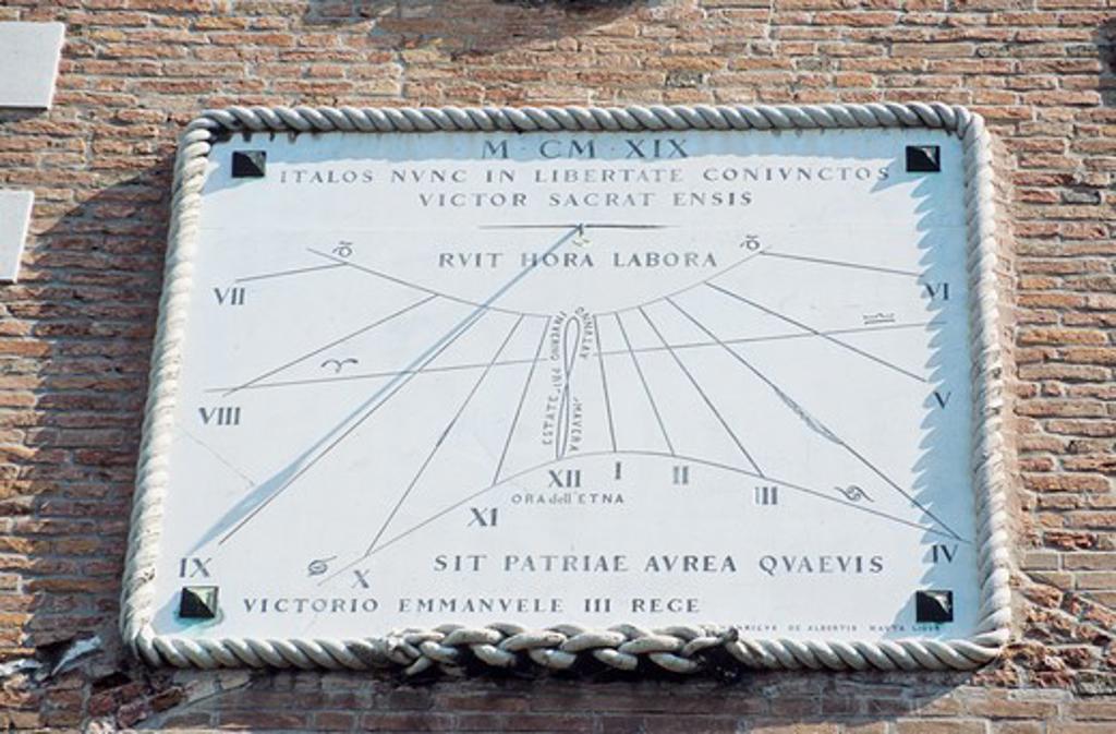 Stock Photo: 4290-6310 Sun dial on wall, Porta Magna, The Venetian Arsenal, Arsenale di Venezia, Venice, Italy