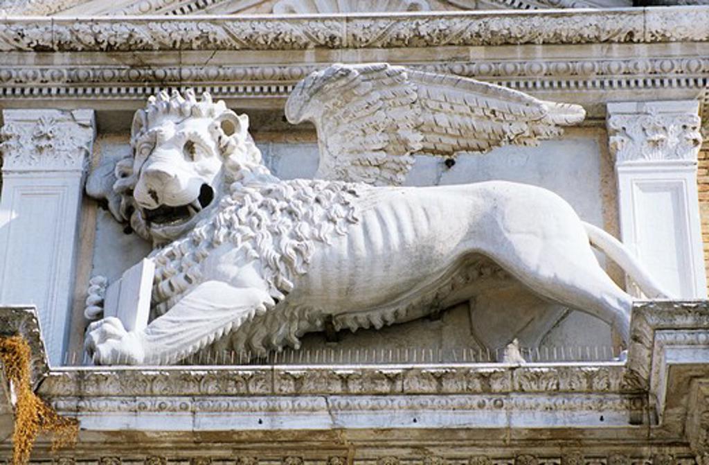 Winged lion statue, Porta Magna, The Venetian Arsenal, Arsenale di Venezia, Venice, Italy : Stock Photo