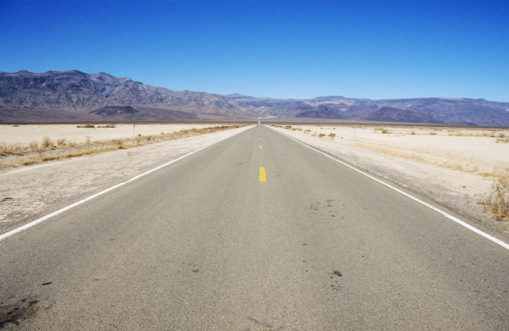 Long straight road, California, USA : Stock Photo